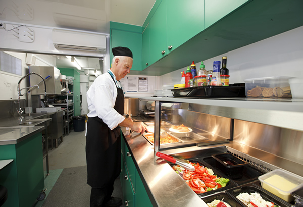 Living quarters: Professionally-designed commercial kitchen